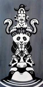 "Black and White Totem Pole, acrylic on wood, 12"" by 24"""