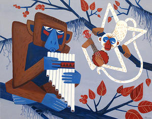 "Pan Flute and Banjolele Duet, acrylic on board, 11"" by 14"""
